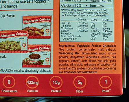 vegetable protein and seasonings mix ingredients