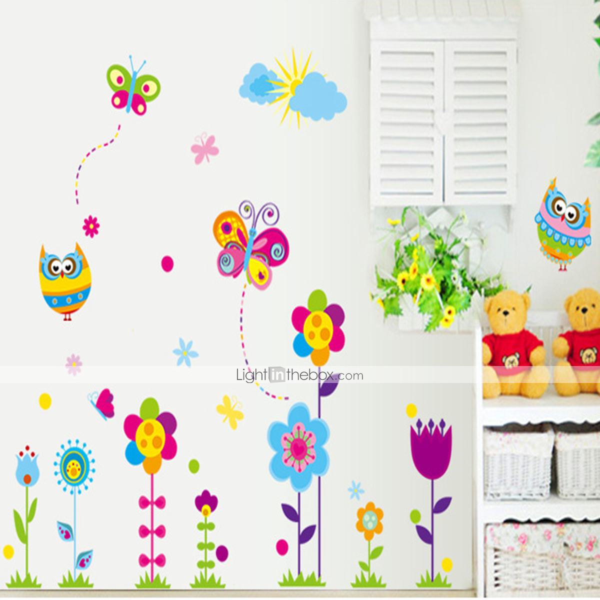 Muurstickers Action Cartoon Bloemen Muurstickers Vliegtuig Muurstickers