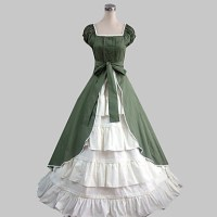 Short Sleeve Floor-length Green Cotton Country Lolita ...