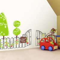 Wall Stickers Wall Decals, Green Fence Cycling PVC Wall ...