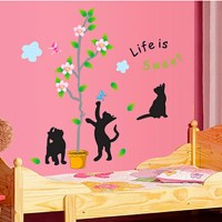 Wall Stickers Wall Decals, Black Cat and Tree PVC Wall ...