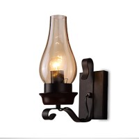 Retro Rustic Nordic Glass Wall Lamp Bedroom Bedside Wall ...