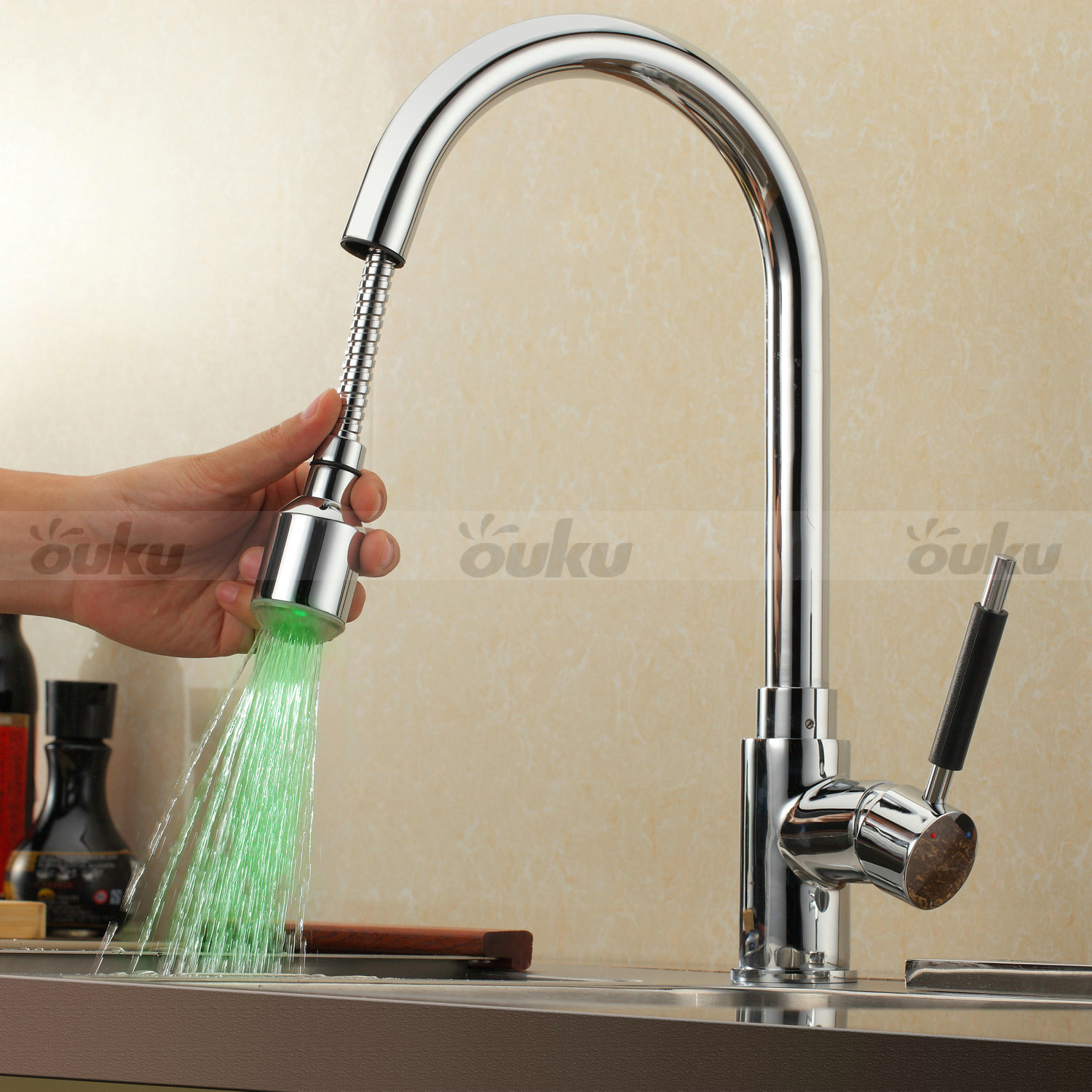 Kitchen Faucets With Led Lights Color Changing Led Light Solid Brass Pull Out Kitchen