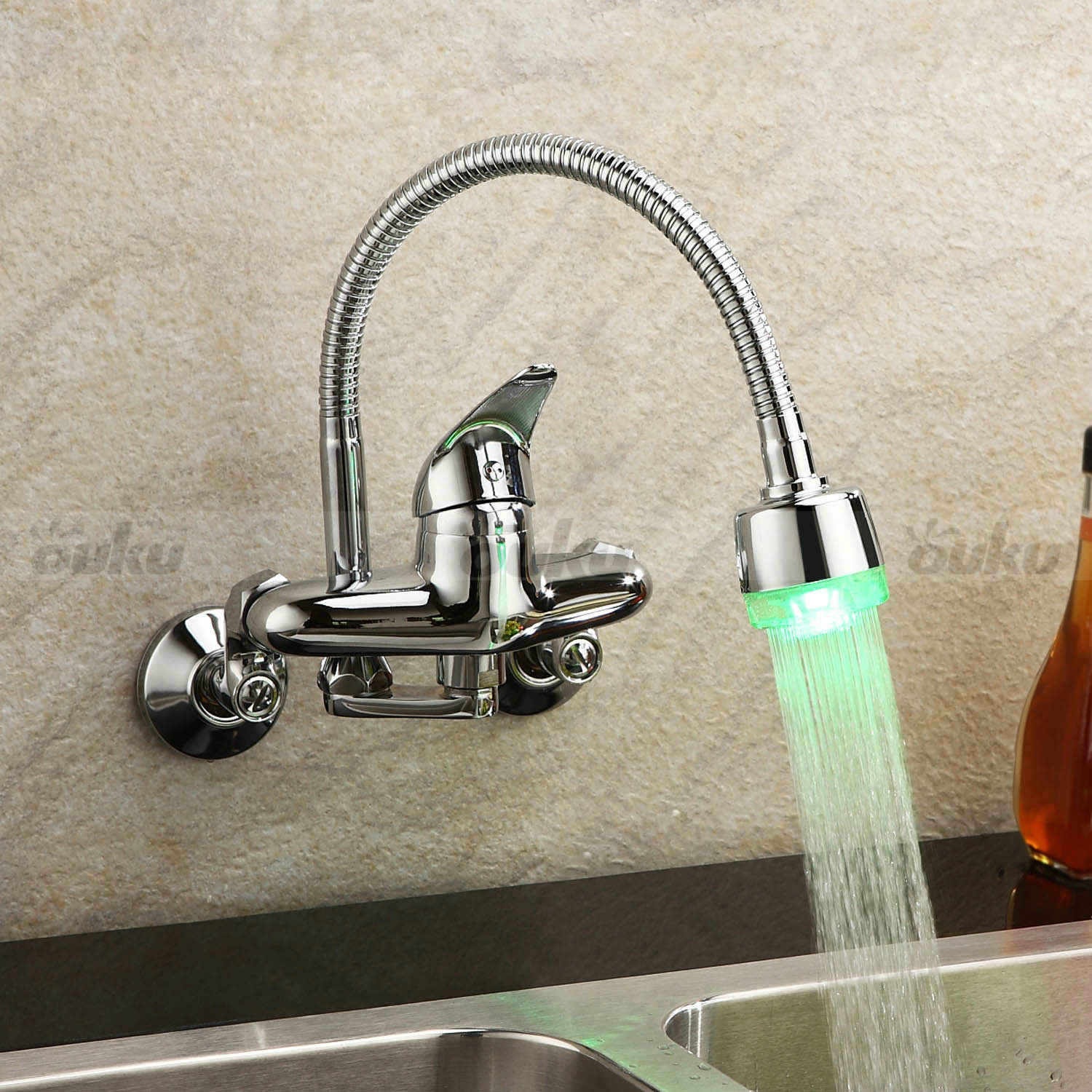 Kitchen Faucets With Led Lights Chrome Single Handle Wall Mount Kitchen Faucet 43color