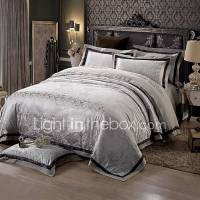 Black and gray Queen King Size Bedding Set Luxury Silk ...