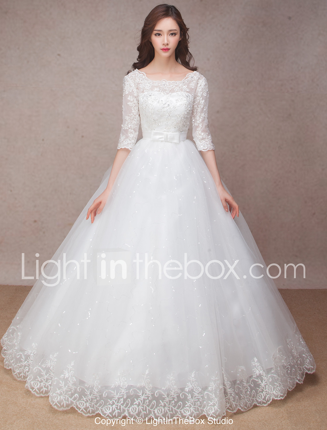 wedding dresses wedding dressing Princess Wedding Dress Lacy Look Floor length Scoop Lace with Bow Flower Ruffle
