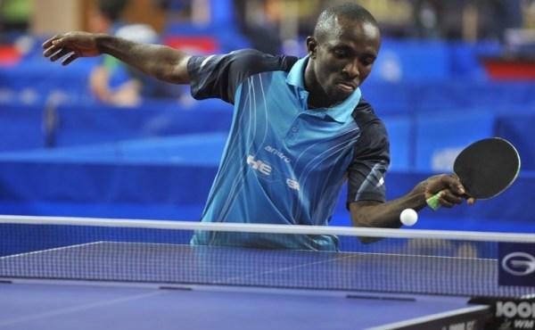 Table Tenni s star in Nigeria, Kazeem Makanjuola playing.