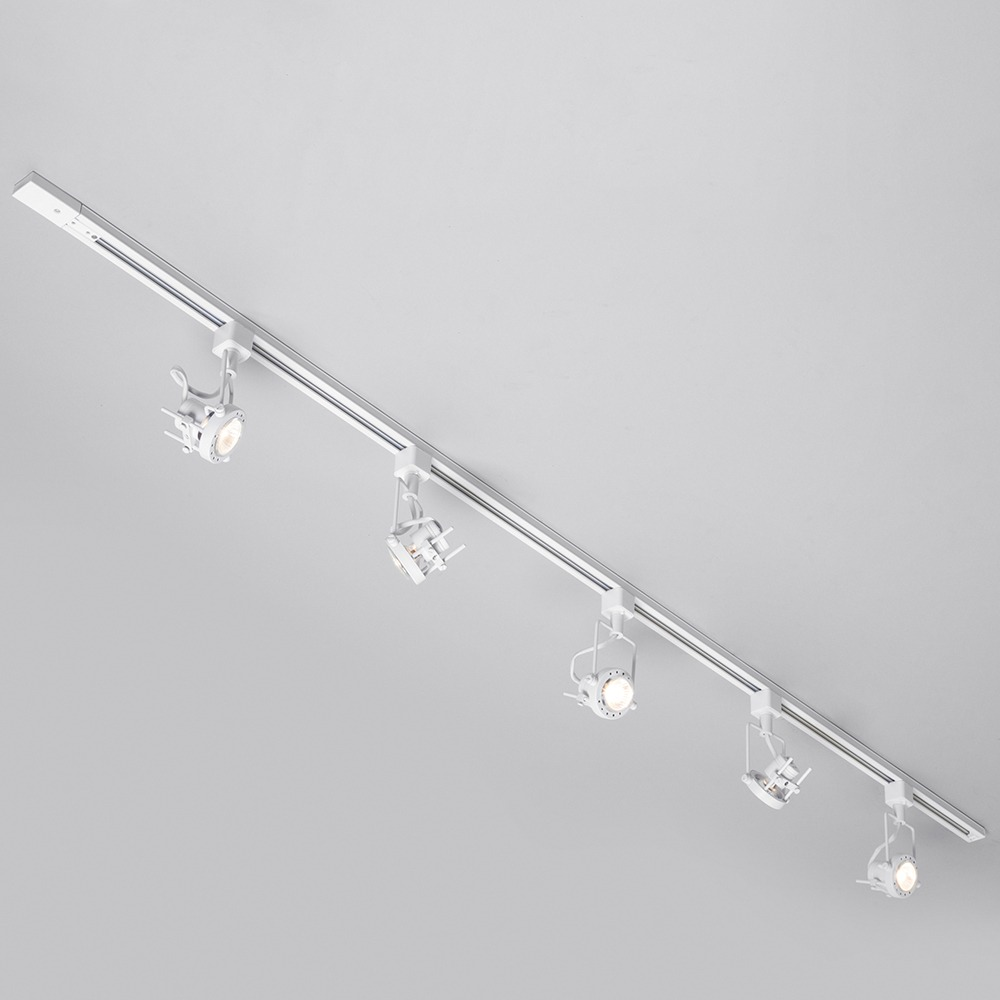 Led White 2 Metre Track Lighting With 5 Greenwich Gu10 Fixture Led Bulbs White