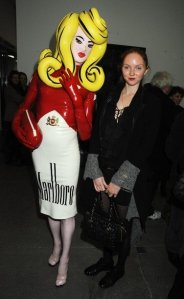 with Lily Cole, at a Damien Hirst exhibition