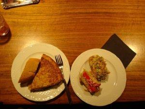 tortilla, warm duck salad and tuna