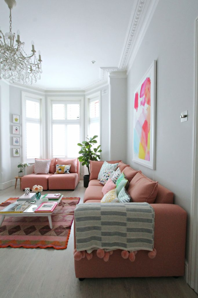 Modular Sofa Or Not Littlebigbell How To Style A Pink Sofa. My Coral Pink Sofa