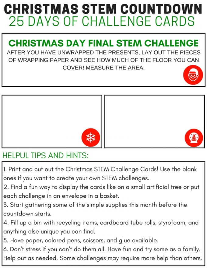 Free Calendar To Write On And Print Printable Calendar Free Blank Pdf 2018 2019 Calendar 25 Days Of Christmas Stem Challenge Cards Countdown Calendar
