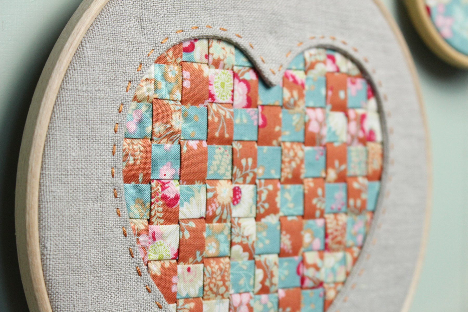 Applique Reverse Applique Woven Heart Hoop Art Tilda Blog Hop