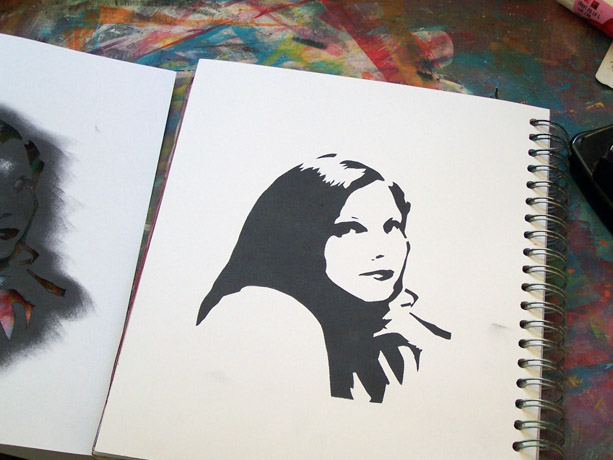 A Little Imagination and a Pile of Junk tutorial self-portrait stencil