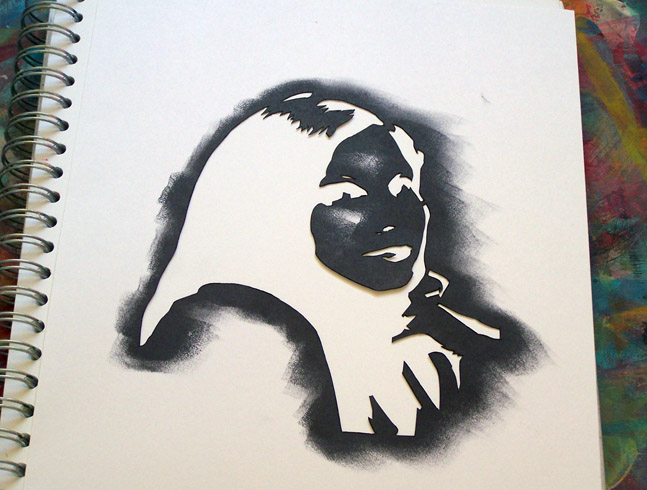 A Little Imagination and a Pile of Junk tutorial self-portrait stencil