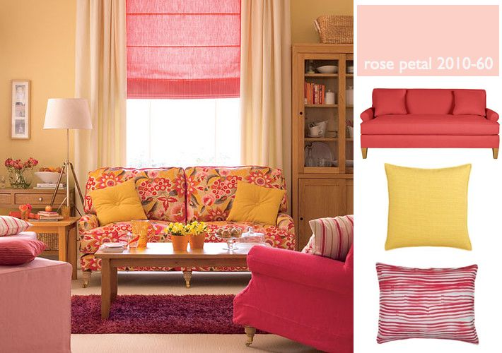 interiors creating a rosy pink, yellow \ peach living room - peach living room