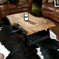 Rustic Modern Coffee Table - live edge burl wood slab