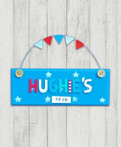 blue bedroom door sign