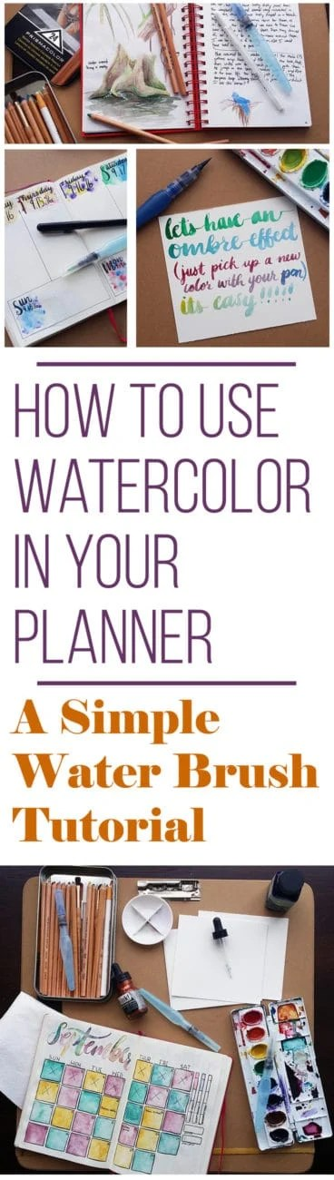 How to Use Watercolors in Your Planner - A Simple Water Brush Pen - paper lined