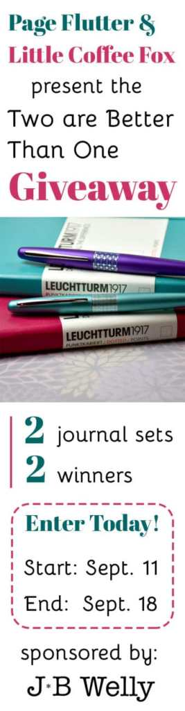 Enter today to be one of two winners! Winner gets a Leuchtturm1917 journal in their choice of color, a Pilot Metropolitan in their choice of color, and a copy of my eBook, Capture Your Creativity! The giveaway is open from 9/11 - 9/18 @9am CST. US only. Click the pin to enter to win!