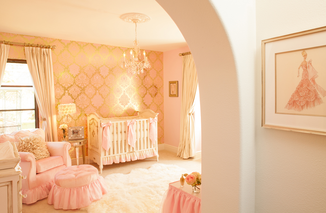 Wallpaper Ideas For Baby Girl Nursery Ivory Amp Pink Girl S Nursery By Little Crown Interiors