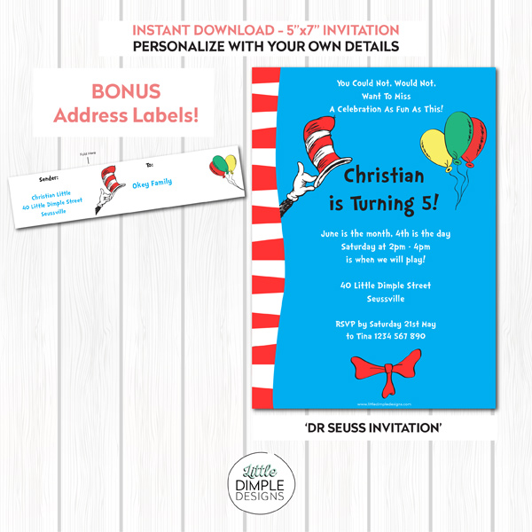 Dr Seuss Cat in the Hat Party Invitation