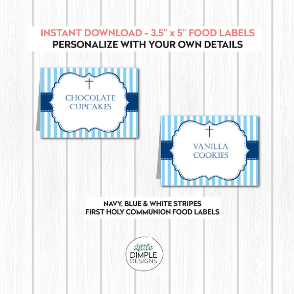 Navy, Blue and White Stripes Printable Candy Buffet Food Labels
