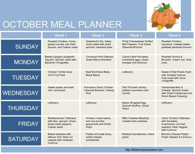 October Clean Eating Grocery List - Meal Plan Week 4 Little Family - weekly healthy meal plan
