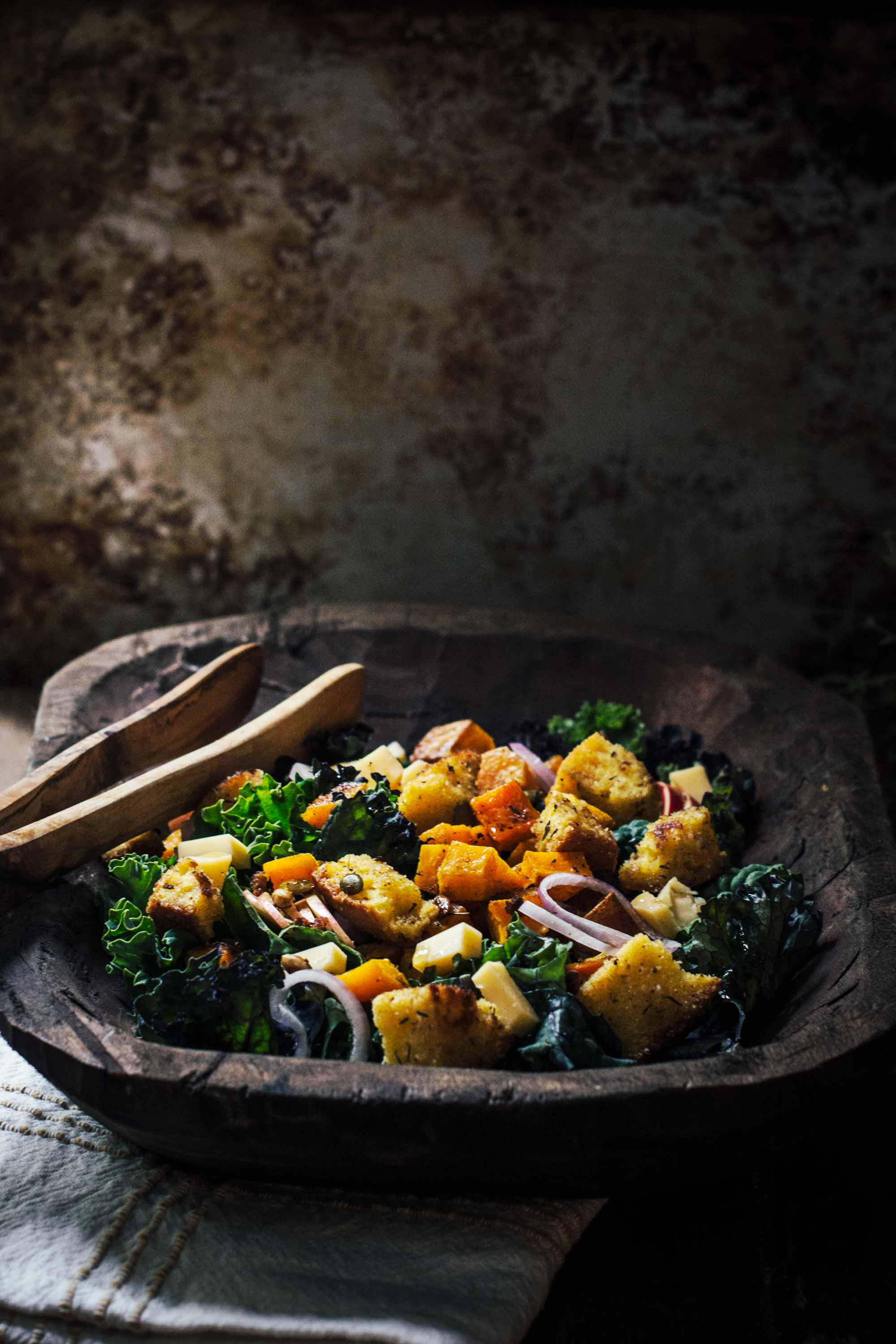 Roasted Butternut Kale Panzanella Salad Little Figgy Food