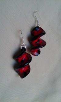 red and black earrings | LittleFunkyFlames