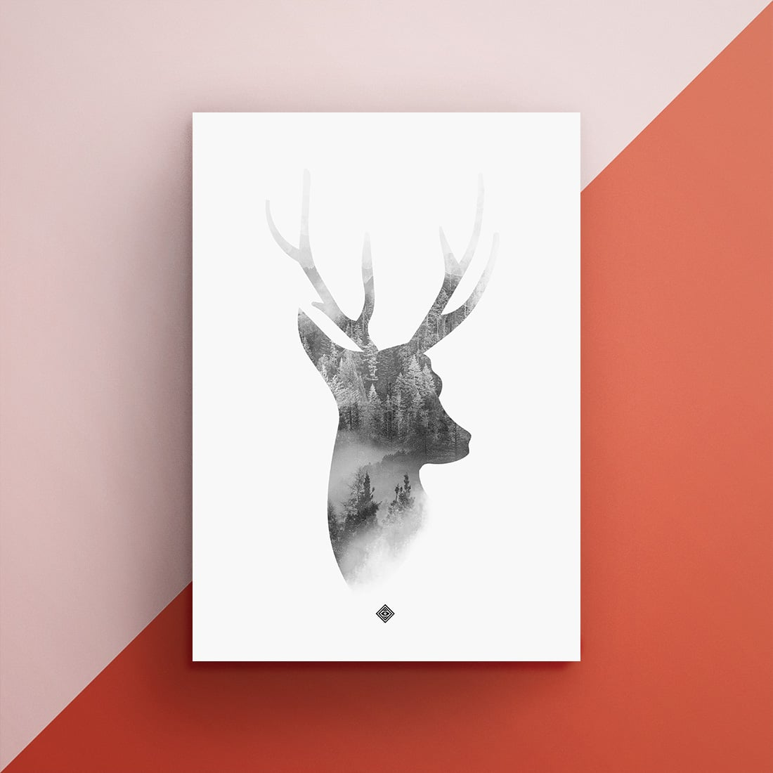 Free Deer Wall Art Printable  Little Gold Pixel