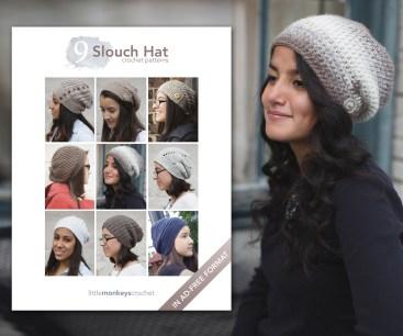 9 Slouch Hat Crochet Patterns E-Book   by Little Monkeys Crochet
