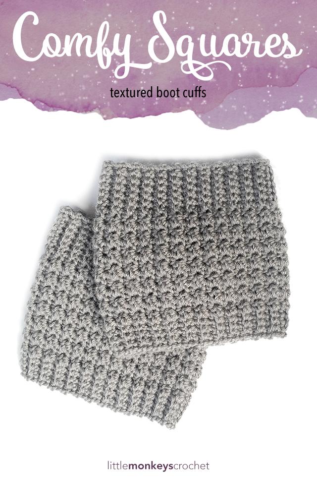 Comfy Squares Textured Boot Cuffs Crochet Pattern  |  Free Boot Cuffs Crochet Pattern by Little Monkeys Crochet