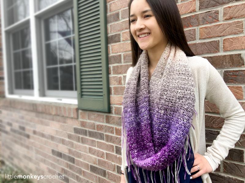 Sonoma Scarf Crochet Pattern   Free Fringe Infinity Scarf Crochet Pattern by Little Monkeys Crochet