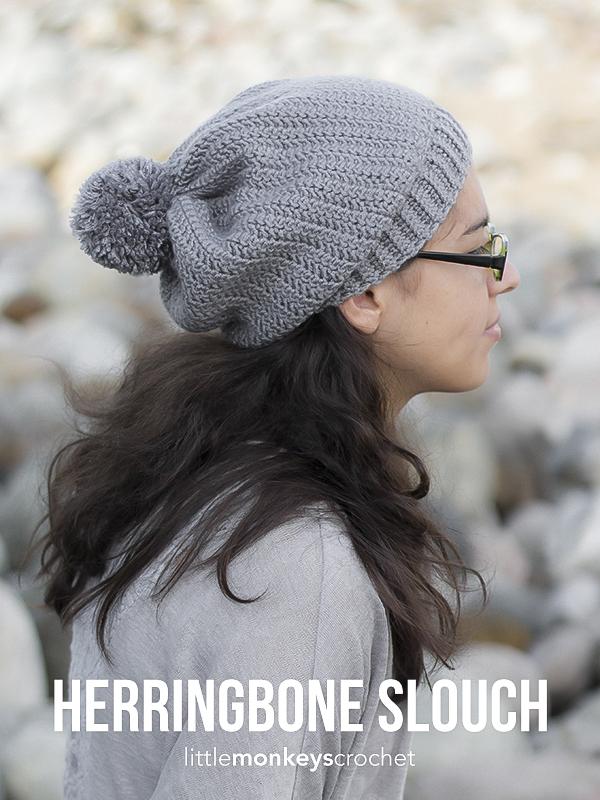 Herringbone Slouch Crochet Pattern  |  Free slouchy hat crochet pattern by Little Monkeys Crochet