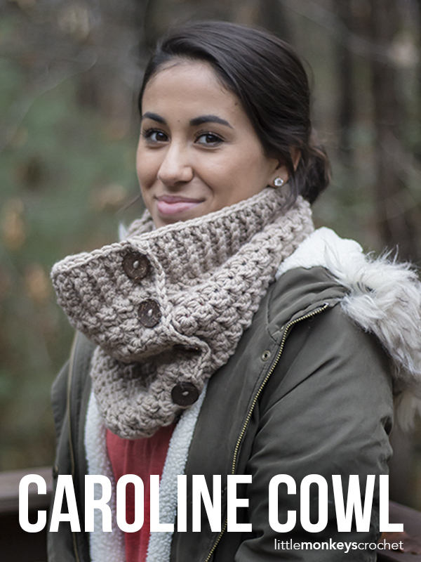 Caroline Cowl Crochet Pattern  |  Free crochet button cowl scarf pattern by Little Monkeys Crochet | using Lion Brand Woolspun