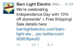 Barn Light Electric Tweet/Discount