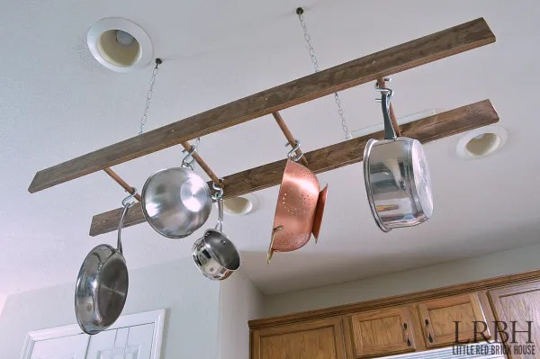 Diy Ladder Pot Rack Domestically Speaking