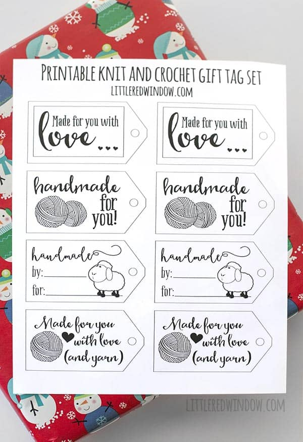 Printable Gift Tags for Knitting and Crochet - Little Red Window