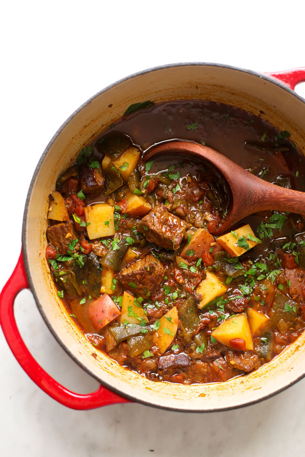 Roasted Poblano Beef Stew Recipe — Dishmaps