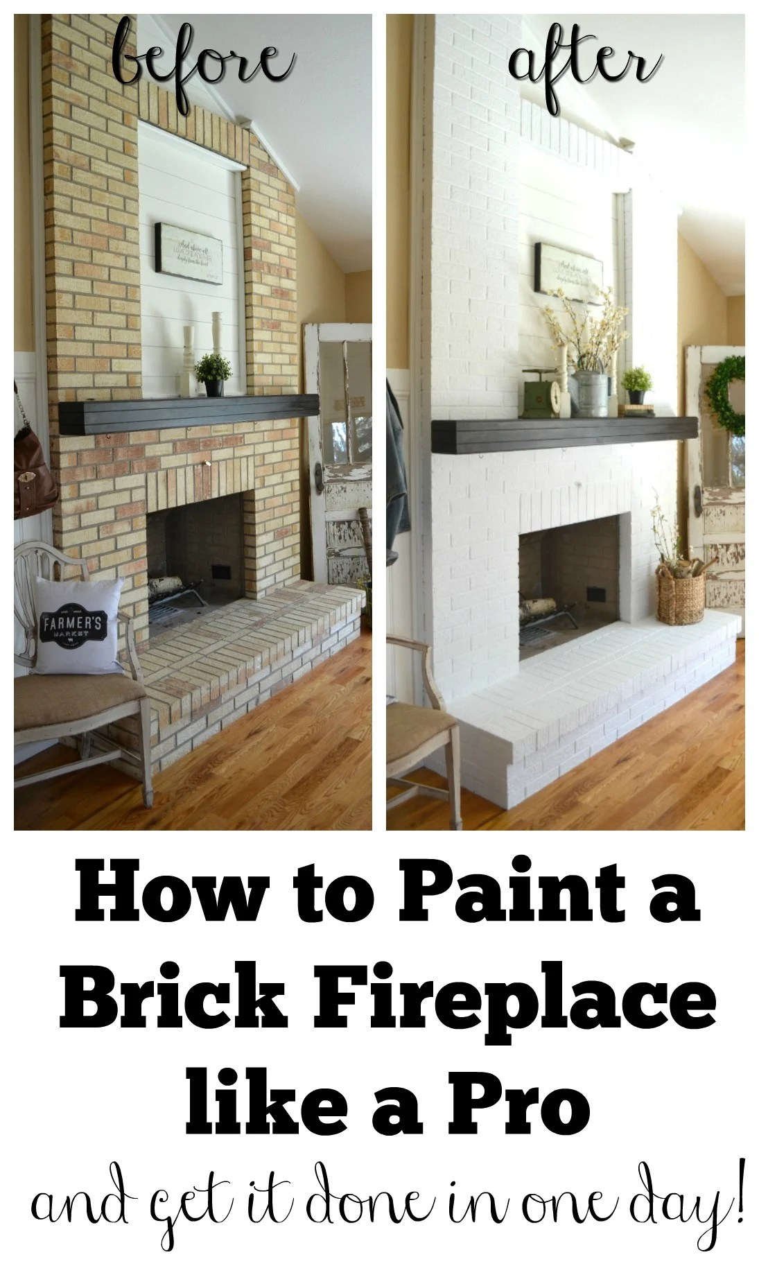 Painting Over Fireplace How To Paint A Brick Fireplace Little Vintage Nest