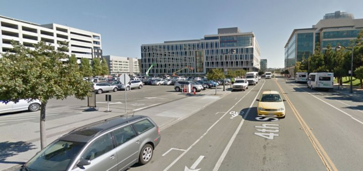 Big buildings with large parking structures and parking lots Mission Bay.