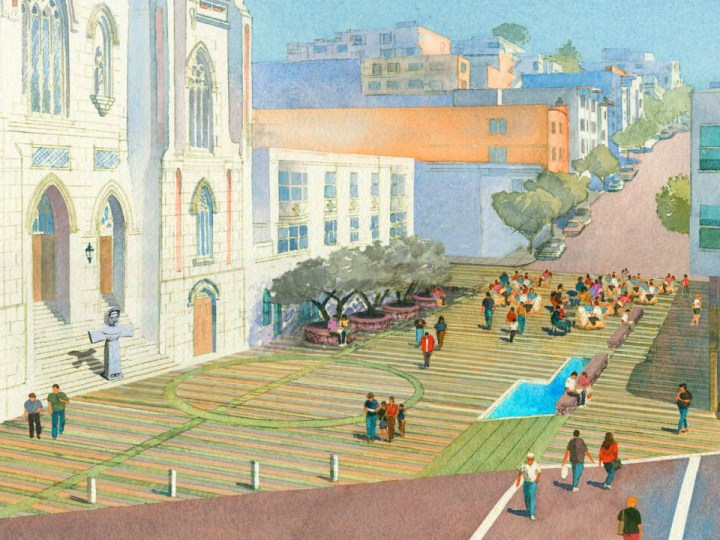 Rendering of Piazza Saint Francis, the Poets Plaza