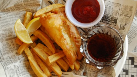 Malt vinegar is an obligatory condiment for fish and chips. (Photo: learninglark/Flickr.)