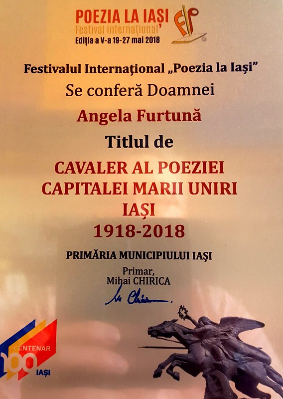 Angela FUrtuna Cavaler al Poeziei  in Iasul Marii Uniri 1918 2018.