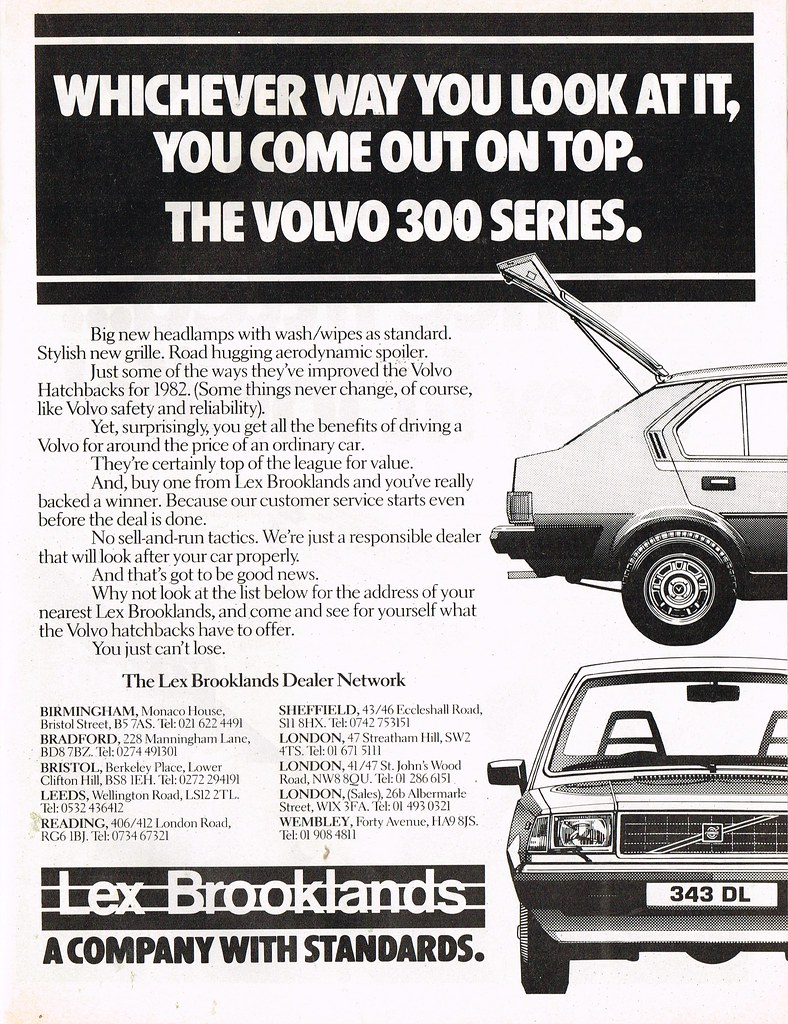 Bds 300 1982 Volvo 300 Series Advert Lex Brooklands Aa Drive And T Flickr
