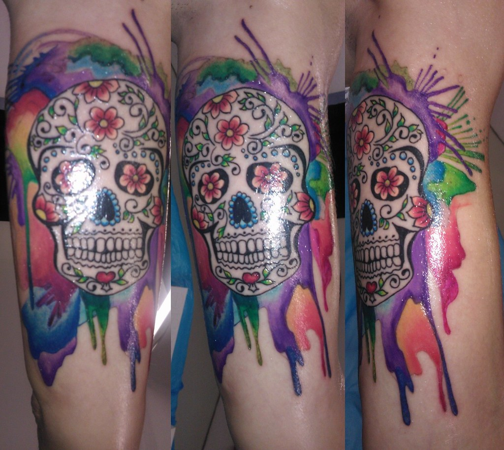 Tattoo Aquarell Sugar Skull With Aquarell Bl Design Tattoo Studio Flickr