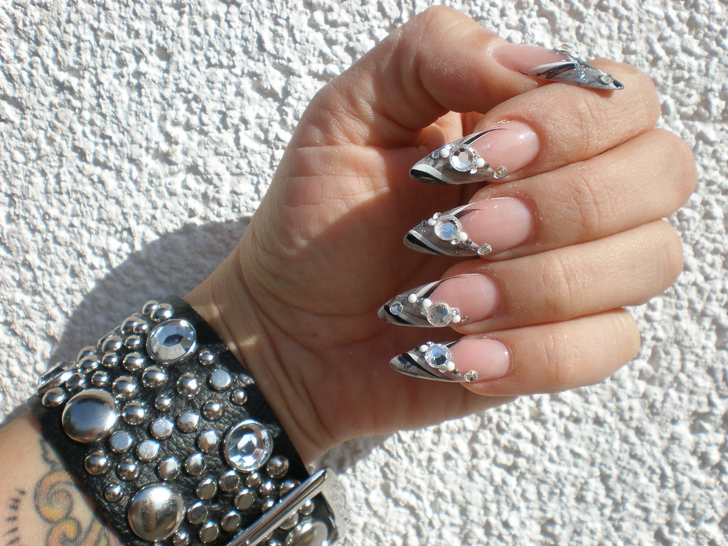 French Fussnägel Bilder Nail Art Strass French Mit Grau Und Schwarz Nicole Flickr