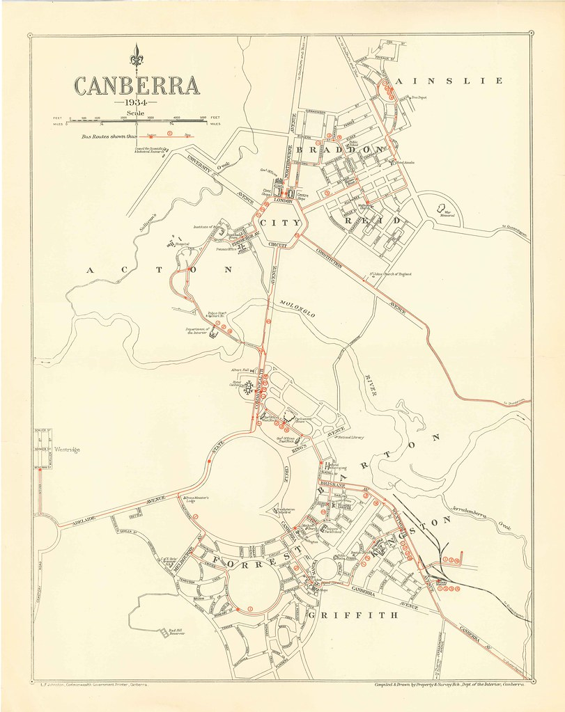 Map Of Canberra Canberra Bus Routes Map 1934 A Map Showing The Bus Route Flickr