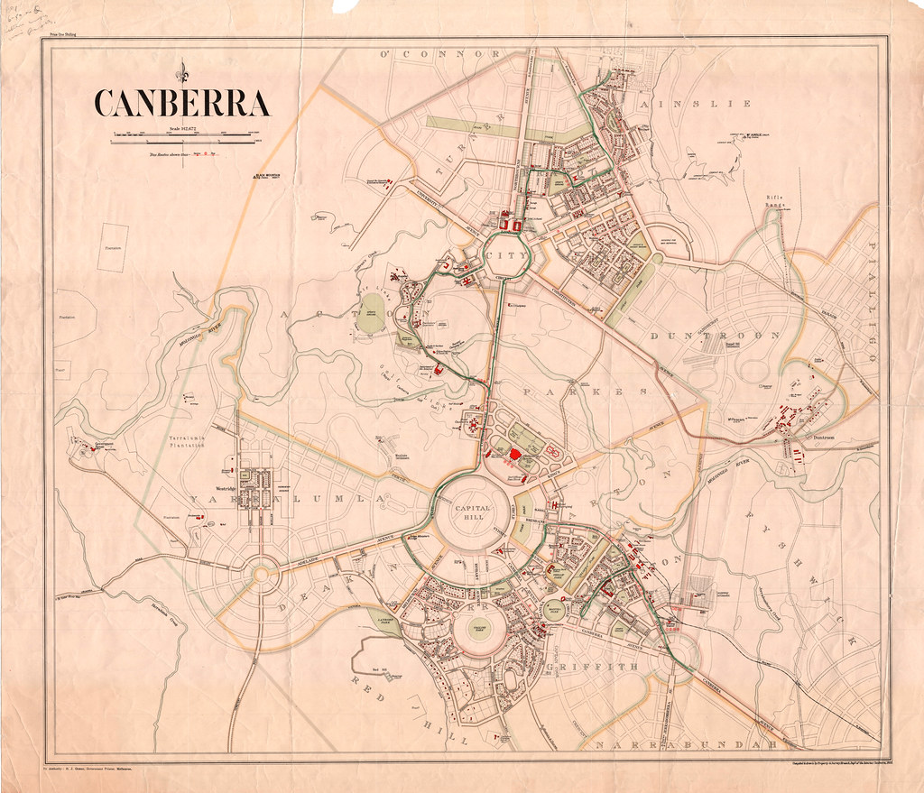 Map Of Canberra Canberra Map 1933 This Map Highlights The Major Buildings Flickr